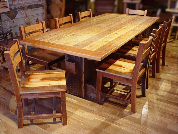 Tables cabinets beds benches and other barn wood furniture pieces